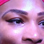 What is up with Serena Williams' brows???  Photo by Karen Salkin.