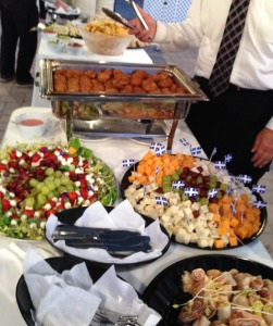 The buffet.  Do you see those gorgeous croquettes in the hot tray? Photo by Karen Salkin.