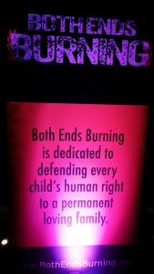 One of the big lit-up signs featuring the Both Ends Burning mission statement.  Photo by Alice Farinas.