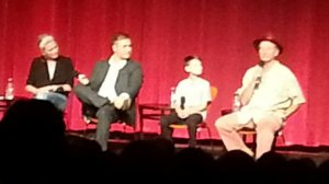 The panel, including Bill Murray, far right, and Jaeden Lieberher next to him.  Photo by Alice Farinas.