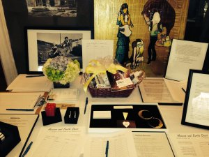 Some of the silent auction items.  Photo by Karen Salkin.