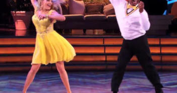 """Alfonso and Witney doing the beloved """"Carlton Dance.""""  The number to vote for them is 800-868-3401."""