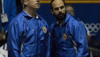 Steve Carell and Mark Ruffalo looking almost exactly like the real-life men they're portraying in Foxcatcher.
