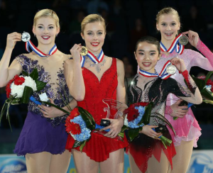 (Lto R) Gracie Gold, Ashley Wagner, Karen Chen, Polina Edmunds.