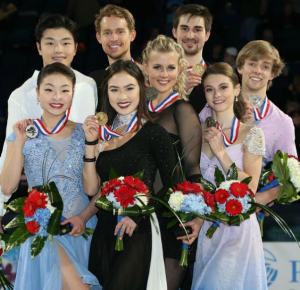 (L to R) Madison Chock and Evan Bates, Maia and Alex Shibutani, Madison Hubbell and Zachary Donohue, Kaitlin Hawayek and Jean-luc Baker.