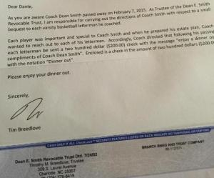 The letter, and check, that went out from Dean Smith's estate attorneys to his former players.