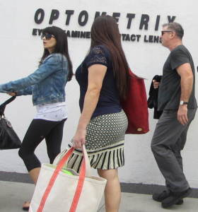 Hilaria Baldwin, pushing the baby carriage, some woman with them, Alec Baldwin.  Photo by Alice Farinas.