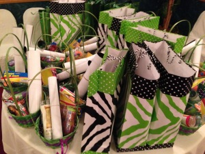 The goodie bagas...and baskets.  Photo by Karen Salkin.