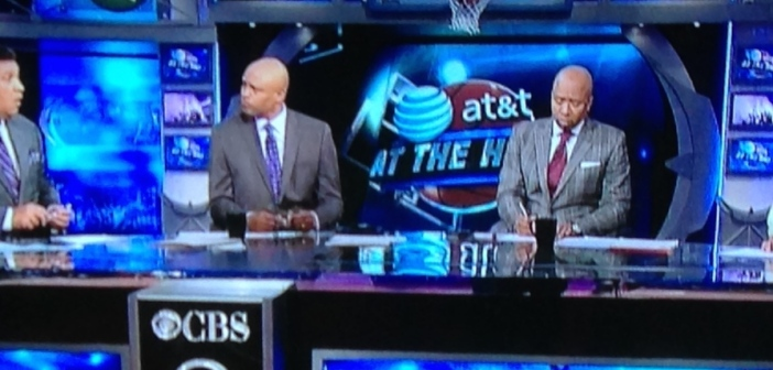 The CBS analysts, looking very coordinated, which I love.  (L to R) Greg Gumbel, Clark Kellogg, Kenny Smith, Charles Barkley.) Photo by Karen Salkin.