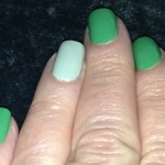 Karen Salkin's shamrock-shaded nails. Not a great pic, but they look really fun in person!  Photo by Karen Salkin.