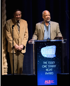 Composer Richard Sherman presenting an award to Sheldon Epps, of the Pasadena Playhouse. Photo by Earl Gibson for The ALS Association Golden West Chapter.