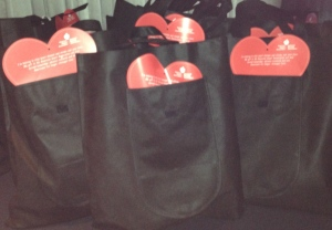 The goodie bags.  Photo by Karen Salkin.