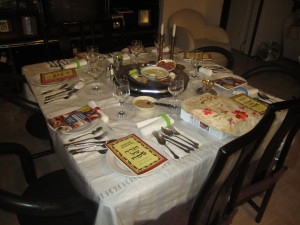 The seder table at Manny's Photo by Karen Salkin.