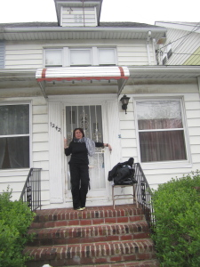 Me, in front of my beloved house for the last time.  I look distraught because...I am!!!