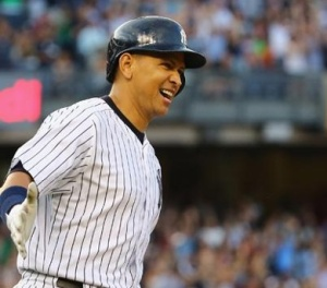 A-Rod rounding the bases for his home run. I've never seen him that happy!