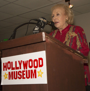 Doris Roberts, addressing the assemblage.  Photo by Bill Dow.
