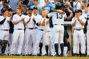 A-Rod's teamates greeting him after his 3,000th hit.