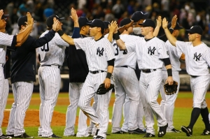 The Yankees on the day they made the 2015 Play-offs.