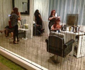 Looking into the blow-dry salon from the Garden Room.  Photo by Karen Salkin.
