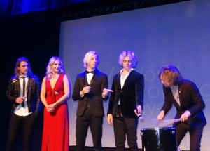 Host Riker Lynch, (in the middle,) flanked by his R5 bandmates. Photo by Lauren Bennett.