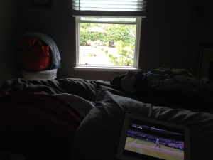 The view out my bedroom window.  Notice the sad tennis on my iPad on my bed! Photo by Karen Salkin.