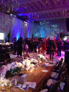 The end of the night dancing crowd. Notice the giant to-go box on the table! Photo by Karen Salkin.