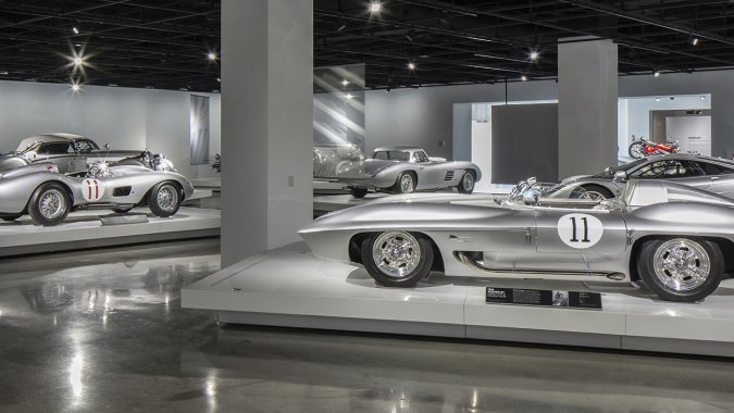 """""""Precious Metal"""" exhibit, courtesy of the Petersen Automotive Museum, as is the exterior shot at the top."""