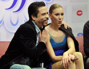 Polina Edmunds and her happy coach, Rudy Galindo.