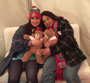Karen Salkin and Maria Calabrese chillaxing in the Shriners tent with some Fezzy Bears at the end of the soiree.