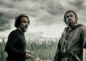Director Alejandro Innarritu and Leonardo DiCaprio, hard at work on the set of The Revenant.