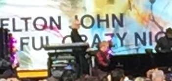 Elton John, blurry as he may be.  Photo by Karen Salkin.