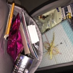 Some of the goodies hidden in the inside pockets of the suitcase.  Photo by Karen Salkin.