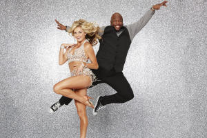 Wanya Morris with his pro partner, (who Mr. X gets the biggest kick out of,) Lindsay Arnold.