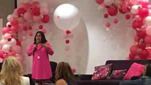 Host Laura Filipowicz, welcoming the crowd.