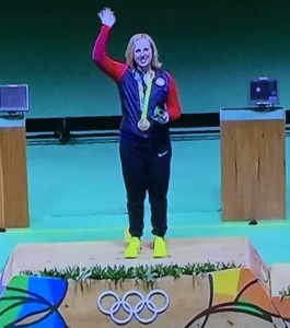 First gold medal winner of these games, Ginny Thrasher. Photo by Karen Salkin.