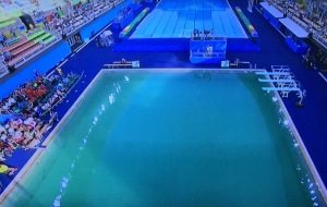 The diving venue water, which was normal just the day before! Photo by Karen Salkin.