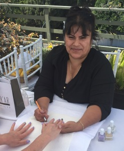 Anna Ramos, doing a guest's gorgeous nails.  Photo by Karen Salkin.