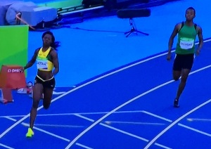 The runner on the right is not Caster Semenya, but doesn't this also look like a race featuring both genders? Photo by Karen Salkin.