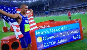 The World's Best Athlete, Ashton Eaton, totally spent after the two-day event. Photo by Karen Salkin.