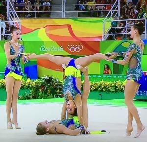 A Rhythmic Gymnastics team. With my luck, they'd make me be the one on top! Photo by Karen Salkin.