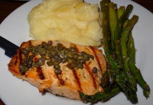The salmon dinner. Photo by Lauren Clarke-Bennett.