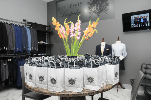 The gift bag display in Art Lewin's new showroom. Photo courtesy of Bergman Public Relations.