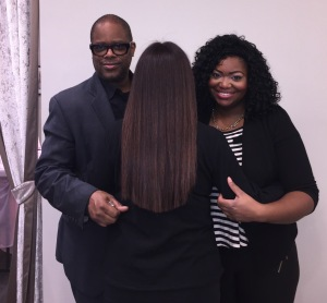 The finished product!  Karen Salkin, (with her back to us, to show off her new fabulous blunt cut,) flanked by stylist Dion Moore and assistant Nyla Aldridge. Photo by Helen Rothwax.