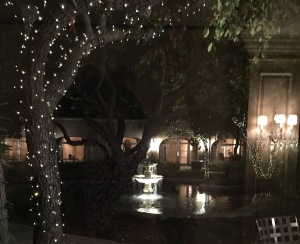 The beautiful view of the courtyard as we exited, now that it gets dark so early.  Photo by Karen Salkin.