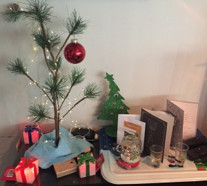 Our little tree, and its pals, this year. Photo by Karen Salkin.