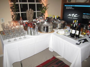 The beverage corner of our friends' Christmas dinner fete.  Photo by Karen Salkin.