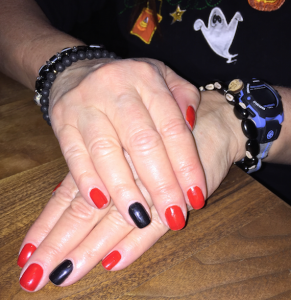 The classier version of Halloween nails that Marjanna did on Karen Salkin.  Photo by Helen Rothwax.