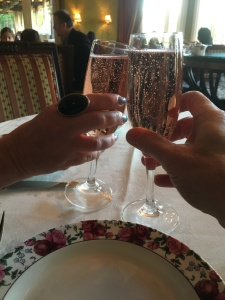 Karen Salkin and Mr. X toasting with their pink champagne.  Photo by Mr. X (who, apparently, is ambidextrous!)