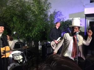 Ty Taylor, (in the white hat,) and the rest of Vintage Trouble.  Photo by Karen Salkin, as is the one at the top of the page.