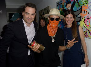 Kilian Muller, Alec Monopoly, and Kristin Klein.  (With a special guest appearance by moi, in the background.) Photo by Joshua Blanchard/Getty Images.